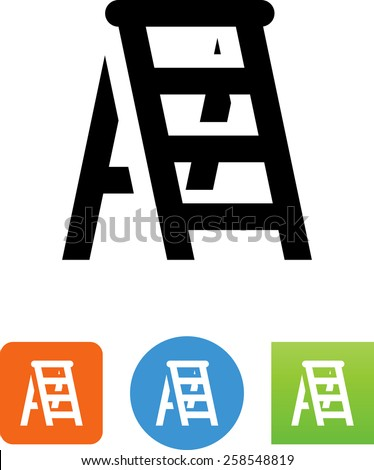 Step ladder symbol. Vector icons for video, mobile apps, Web sites and print projects.  - stock vector