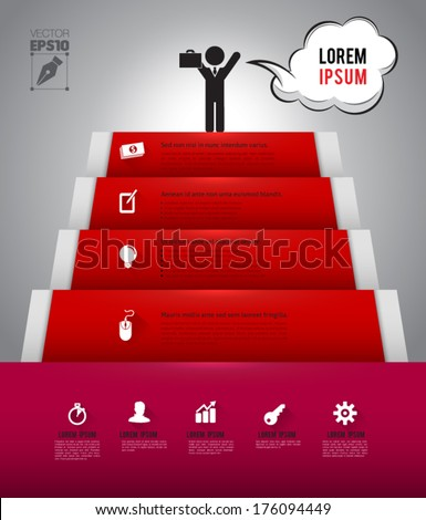 Step to success for business concept or education about business / planing template /  - stock vector