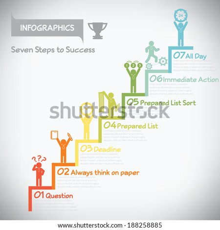 Step to success infographics, vector eps10 - stock vector