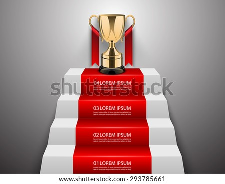 Step to success with winner trophy,vector - stock vector