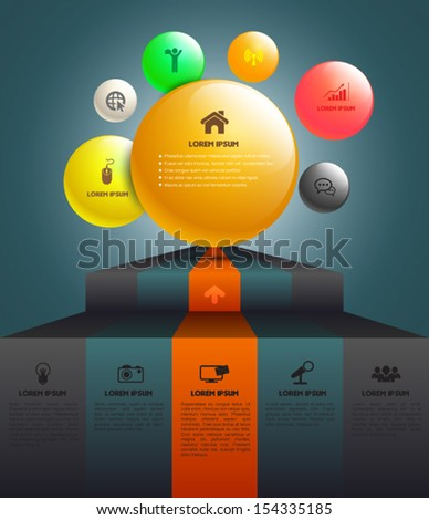 Step up to sphere. can use for infographic / business concept / planing / diagram / brochure / web / printng. - stock vector