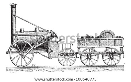 Stephenson's Rocket, vintage engraved illustration. Dictionary of Words and Things - Larive and Fleury - 1895 - stock vector