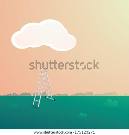 Stepladder under the cloud - stock vector