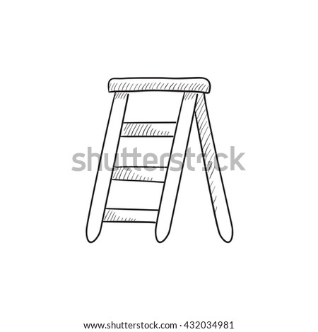Stepladder vector sketch icon isolated on background. Hand drawn Stepladder icon. Stepladder sketch icon for infographic, website or app.