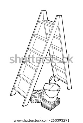 Stepladder with trowel, bucket and bricks illustration isolated on white background. - stock vector
