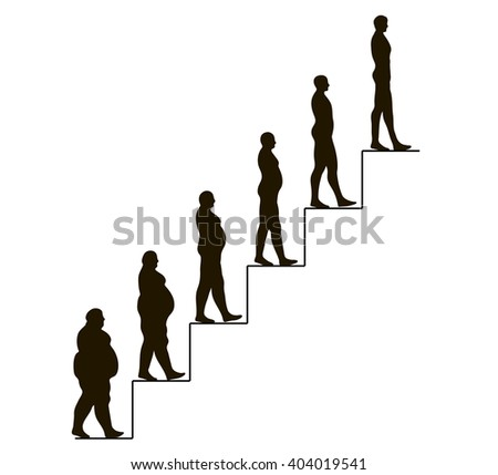 steps of losing weight men on white from fat to slim - stock vector