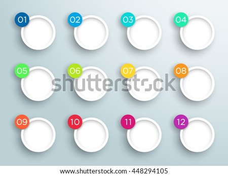 Steps 1 to 12 in 3d Bubbles Vector Infographic A - stock vector