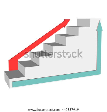 Steps to success with the different directions of the stairs. Ladder 3d  with arrows side view isolated.   Vector illustration on a white background. - stock vector