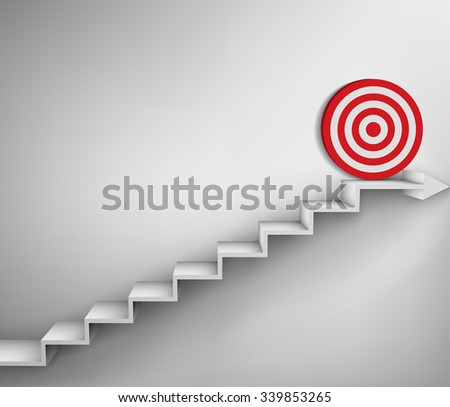Steps with goal target business concept - stock vector
