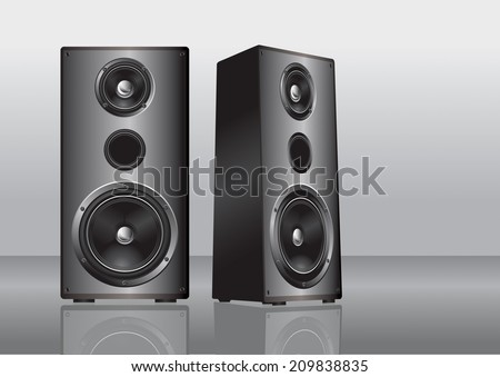 Stereo loudspeakers - stock vector