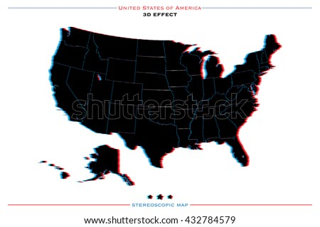 stereoscopic effect United States of America isolated map. vector USA territory political map. geographic banner template. three-dimensional illusion US maps. 3d stereoscopic map icon. vector USA maps - stock vector