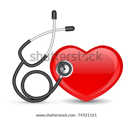 Stethoscope and heart - stock vector