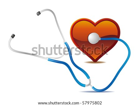 stethoscope and red heart - stock vector