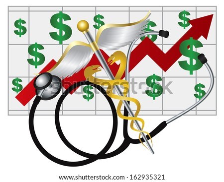 Stethoscope and Rod of Caduceus Medical Symbol with Health Cost Rising Chart on White Background Vector Illustration - stock vector