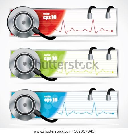 Stethoscope banner set - stock vector
