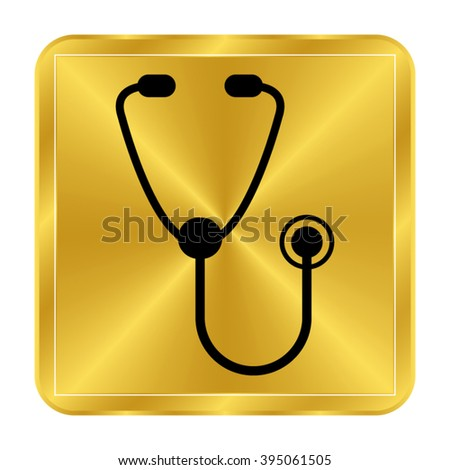 stethoscope - black vector icon;  gold button