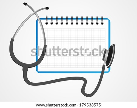 Stethoscope book vector - stock vector