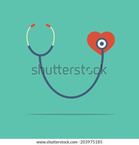 Stethoscope Heart Checking Vector Illustration - stock vector