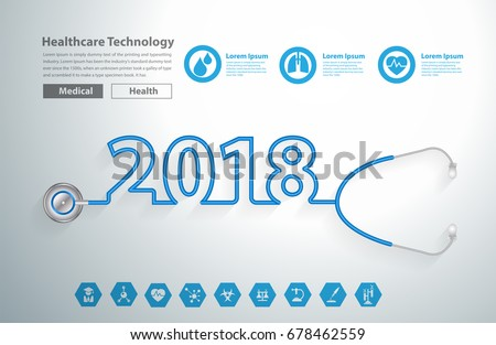Stethoscope heart creative design ideas concept, Happy new year 2018 calendar cover, typographic vector illustration.
