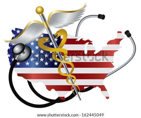 Stethoscope Listening to USA Flag Country Map Heartbeat with Rod of Caduceus Medical Symbol on White Background Vector Illustration - stock vector