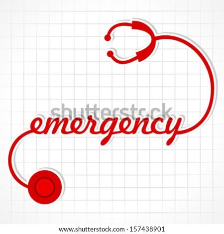 Stethoscope make emergency word stock vector - stock vector