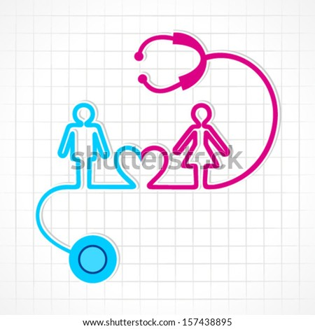 Stethoscope make male,female and heart icon  stock vector - stock vector