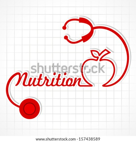 Stethoscope make nutrition word and apple  stock vector - stock vector