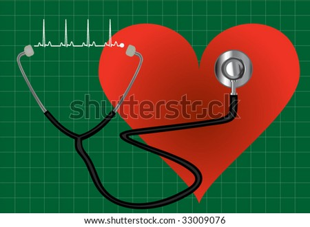 Stethoscope on green background - stock vector