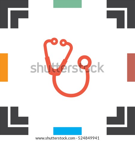 Stethoscope vector icon. Medical equipment sign. Hospital care symbol