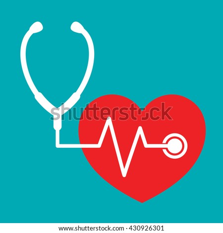 Stethoscope with a heart beat flat icon, stethoscope design icon, vector illustration.
