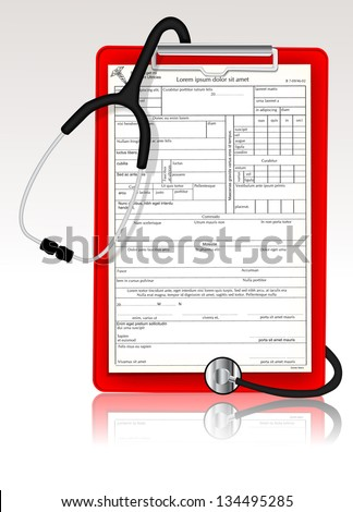 Stethoscope with clipboard eps10 - stock vector