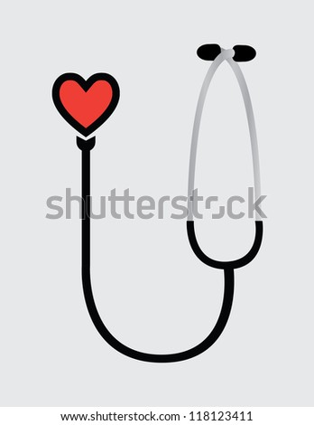 Stethoscope with heart - stock vector