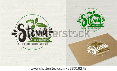 Stevia and Organic food label. Label and Vector Logo element. Organic,bio, ecology natural design template. Easy editable for Your design. Natural look logotype icon.