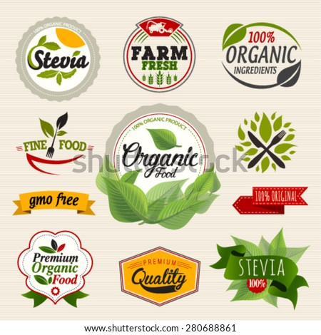 Stevia and Organic food label Set. Farm Fresh label and Logo element. Organic,bio,ecology natural design template. Easy editable for Your design. Retro logotype icon. - stock vector