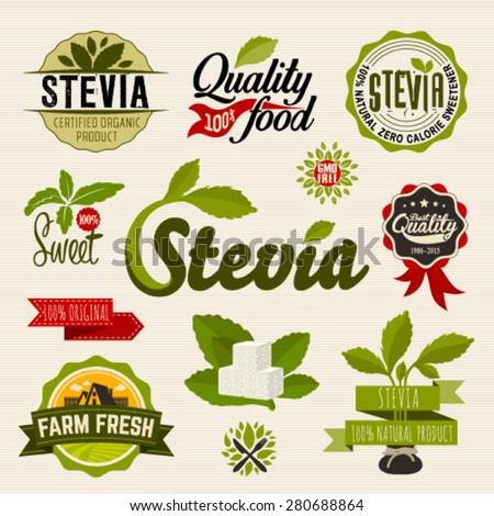 Stevia Organic Food Label Set Farm Stock Vector 280688864
