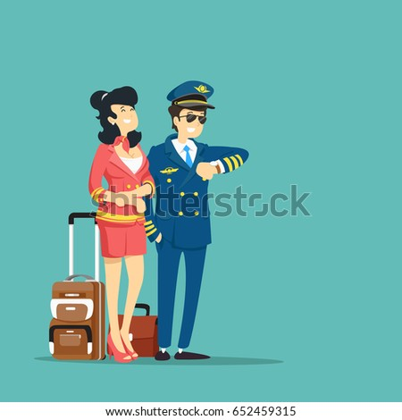 Stewardess and pilot. Vector illustration.