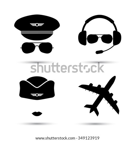 Stewardess, pilot, airplane silhouette. Black icons of aviator cap,  hat and jet. Aviation profession. Flight attendant. Vector illustration. Isolated on white - stock vector