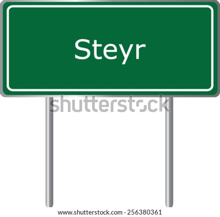 Steyr, Austria, road sign green vector illustration, road table - stock vector