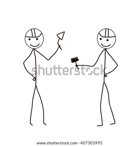 Stick Figure builder, vector isolated