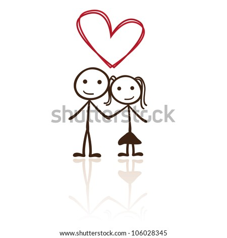 stick figure couple with heart shaped above - stock vector