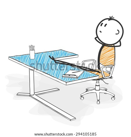 Stick Figure in Action - Stickman is Looking for New Pose Ideas in his Office. Stick Man Vector Drawing with White Background and Transparent, Abstract Three Colored Shadow on the Ground.