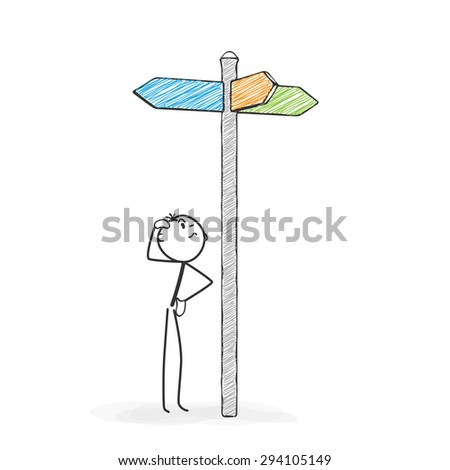 Stick Figure in Action - Stickman Perplexed at a Crossroads Sign - Icon. Stick Man Vector Drawing with White Background and Transparent, Abstract Three Colored Shadow on the Ground. - stock vector