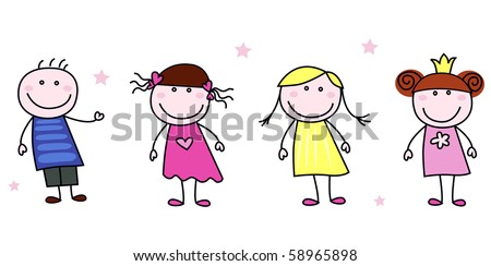 Stick figure inspired children in different characters. Vector Illustration isolated on white. - stock vector