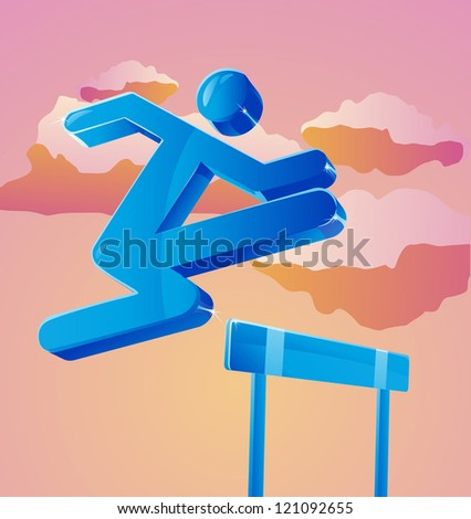Stick figure jumps over obstacle. Can represent business person overcoming challenges. - stock vector