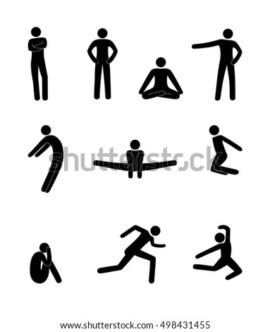 stick figure movement of people man poses and gestures of the human silhouette set