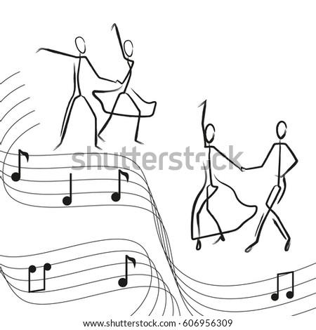 stick figure painted men couple dancing ballroom dance