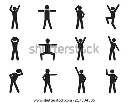 stick figure posture icons - stock vector