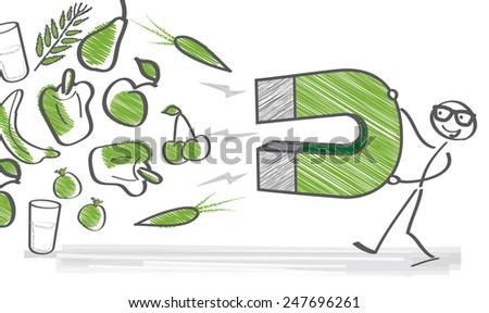 stick figure preferably healthy foods - stock vector
