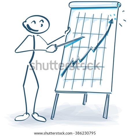 Stick figure with a flip chart and the business goes up - stock vector