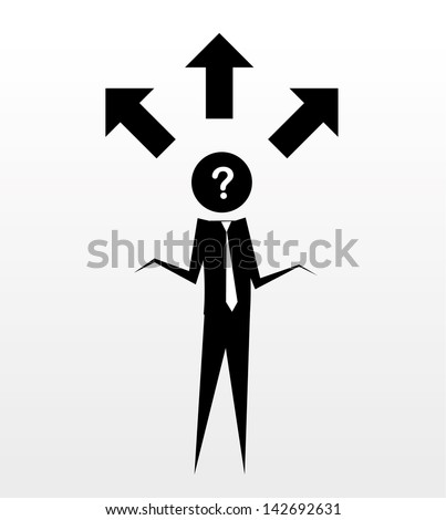 stick figures - confused - stock vector